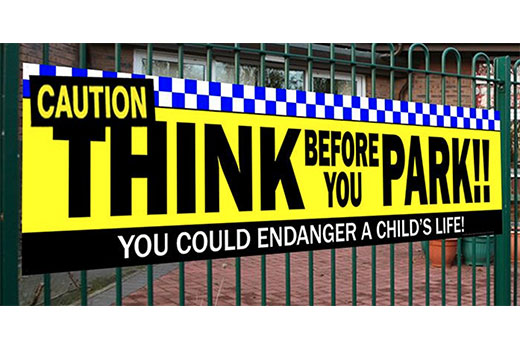 school caution parking banner