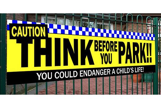 school caution parking banner